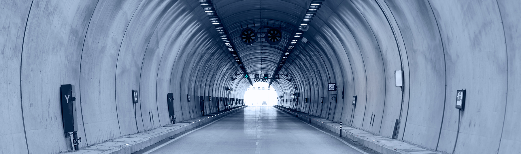 Claims: Inside view of a highway road tunnel